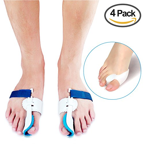 Bunion Corrector,Enjoyee 2 pcs Adjustable Velcro Bunion Splint Protector Sleeves kit,Toe Straightener for Hallux Valgus ,Hammer Toe Pain Relief with 2 pcs Gel Toe Separators by WJkuku