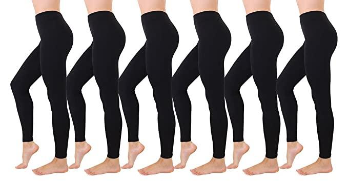 f708382a74b1e 90 Degree By Reflex 6 Pack Fleece Lined Tights - Thick Brushed Leggings -  Multi Color Pack, Black Large at Amazon Women's Clothing store: