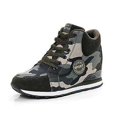 de La Mujer Camuflaje Zapatillas de Tacón Alto Ejército Verde Aumentar La Altura Zapatos 6.5cm Mujer Botas Cuñas 34