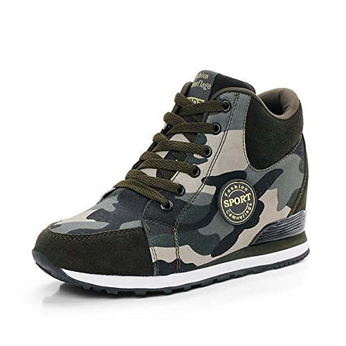 XXHC Women's Camouflage High-Heeled Sneakers Army Green Height Increase Shoes(US:4)