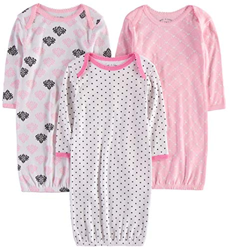 Wan-A-Beez Baby Boys' and Girls' 3 Pack Printed Baby Gowns (0-6 Months, Dot/Pattern)