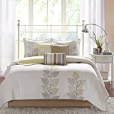 Madison Park Caelie King Size Quilt Bedding Set - Yellow, White, Leaf Embroidery – 6 Piece Bedding Quilt Coverlets – Ultra Soft Microfiber Bed Quilts Quilted Coverlet