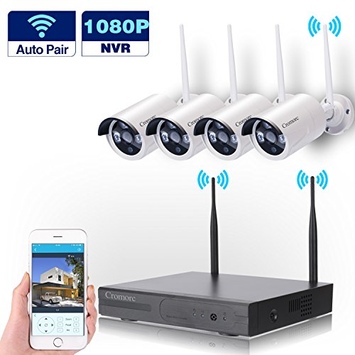 Kit Security Dvr (Wireless Security Camera System WIFI NVR Kit CCTV 4CH 1080P NVR 4pcs 960P Indoor Outdoor Bullet IP Cameras P2P IR Night Vision Waterproof Plug and Play without HDD)