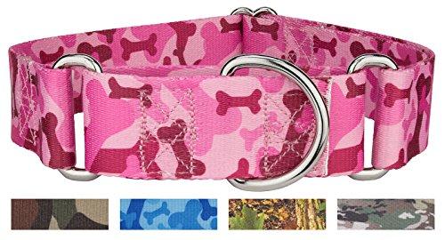 Country Brook Design |1 1/2 Inch Pink Bone Camo Martingale Dog Collar - Medium