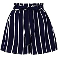 Inkach- Womens Casual Losse Shorts - Elastic Waist Stripe Prined Short Pants With Pocket Workout Yoga Shorts