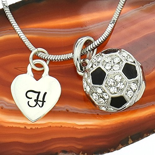 Football Soccer Ball Customizable Necklace Sparkling Crystals Pendant Chain Personalized Hand Stamped Initial Letter Silver Heart Custom Charm Gift Jewelry