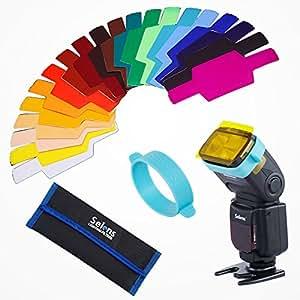 Selens Universal 20x Gel Filtro Iluminación Gels Lighting Filter con 1x Goma de Adaptación Gel Band para Flash Speedlite Cámara (SE-CG20)