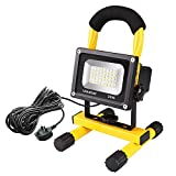 Ustellar 20W LED Work Light (150W Equivalent) 1600lm, 5m Wire with Plug, IP65 Waterproof Site Lights Spotlight, Outdoor Stand Detachable Floodlight for Workshop Construction Site, 230V, 6000K Dayl