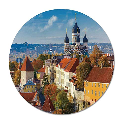 (Modern Round Door Mat 23.6 Inches,Toompea Hill with Historical Tower Russian Cathedral Old City Culture Landmark Image for Living Room Bedroom,23.6''Round)