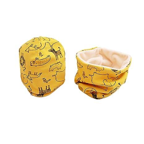 1 Set Cappello e Sciarpa del Cotone per Ragazzi e ragazze,Tukistore Autunno e Inverno Carino Neonato Bambino Spessa e Calda Outdoor Sciarpa del Cappello con Sciarpa Set Sciarpa e Berretto