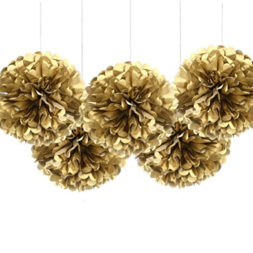 """MOWO 16"""" Gold Tissue Paper Flower Pom Poms, Hanging Party Decorations, Pack of 5"""