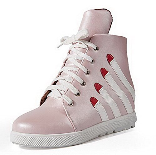 Pink Lace AgooLar Women's Boots Heels Low Kitten Assorted up Color PU Top qP5WBa5c