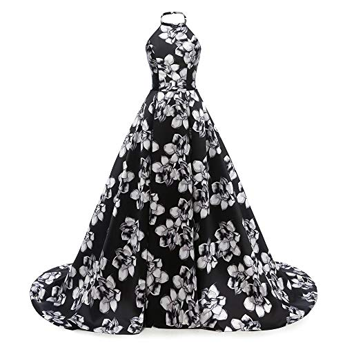 - Chugu Halter Long Prom Party Dresses Backless Evening Formal Gown Print Floral C84 Halter-Black 26 Plus