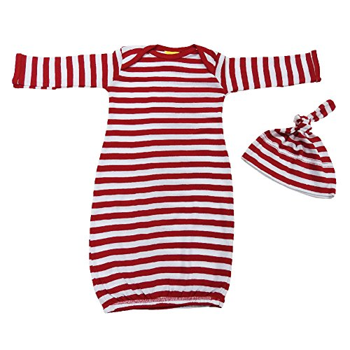 We Match! Baby Adorable Red & White Striped Layette Gown Set Super Soft Baby Outfit (Red & White Stripe)