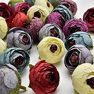 Silk Flowers in Bulk Wholesale Fake Flowers Heads Wedding Party Home Decoration Wreath DIY Scrapbooking Crafts Small Artificial Tea Rose Bud Silk Flower Head 3cm 25pcs 120