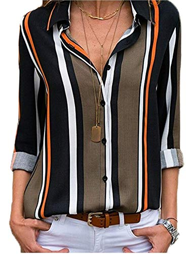 Vertical Lines - V-Neck Button Striped Blouse Shirts for Women Casual Long Sleeve Summer Autumn Chic Tops Tunic Tees for Work Under 20 Black Brown M