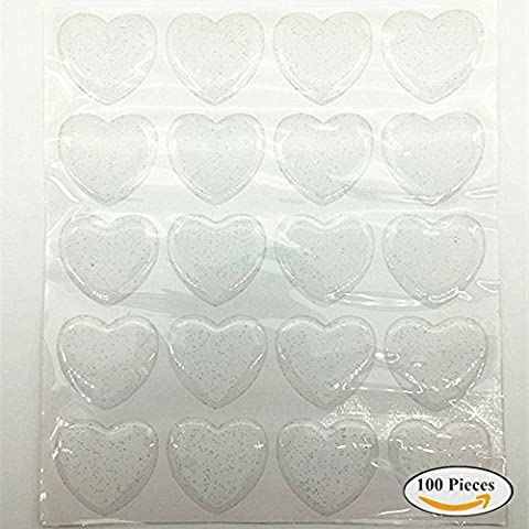 Glitter Heart Epoxy Stickers Epoxy Adhesive Seal Stickers for Bottle Cap and Pendants 1 Inch,100 PCS