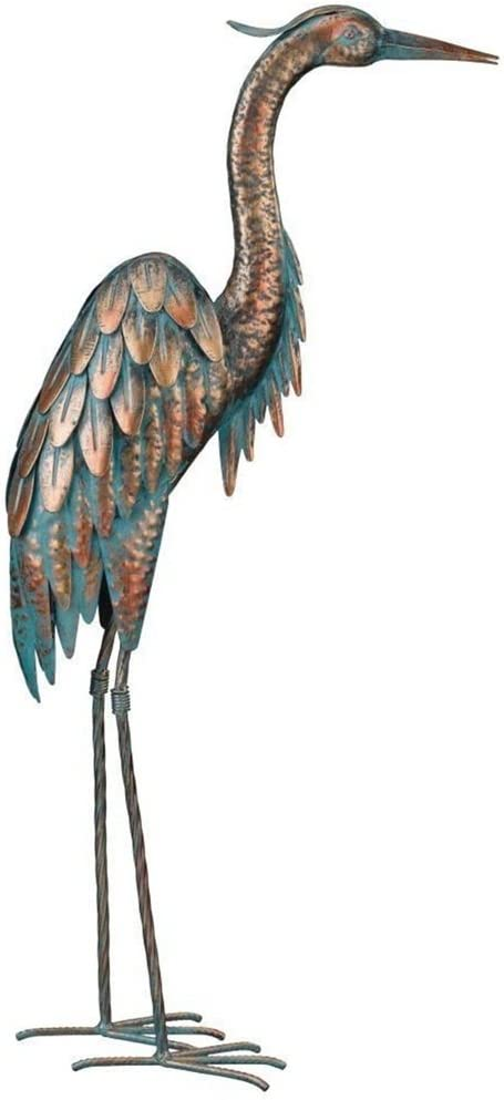 CHSGJY Vintage Copper Patina Heron Garden Stake 3D Yard Art Bird Sculpture Upright Heron Yard Garden Outdoor Living Decor