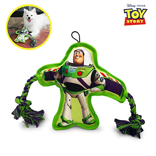 Hyper Pet Disney Toy Story 4 Dog Toy - Buzz Lightyear Rope Squeaker - Interactive Dog Toy