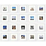 20-set, Tiny Mighty Frames - Wood, Square, Instagram, Photo Frame, 4x4 (Mat), 8x8 (20, White)