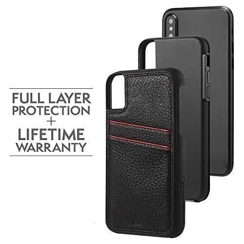 Case-mate Cuir conçu poches carte de crédit support pour un design minimaliste rigide ID Coque pour iPhone 8–Noir