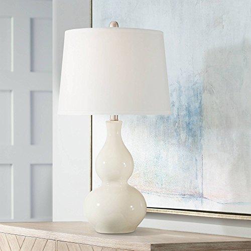 Fergie Modern Table Lamp White Cream Ceramic Double Gourd Drum Shade for Living Room Family Bedroom Bedside Nightstand - 360 Lighting ()