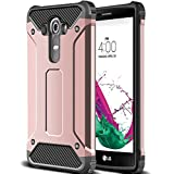 LG G4 Case,Wollony Rugged Hybrid Dual Layer Armor Protective Back Case Shockproof Cover for LG G4 - Slim Fit - Heavy Duty - Impact Resistant Bumper (Rose Gold)