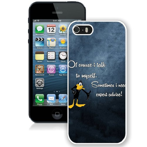 Coque,Fashion Coque iphone 5S Daffy Duck I Talk To Myself blanc Screen Cover Case Cover Fashion and Hot Sale Design