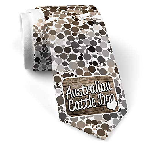 (Neck Tie with Australian Cattle Dog, Dog Breed Australia White with Color Print)