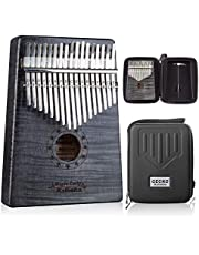 GECKO Kalimba 17 Key Thumb Piano with Hardshell Case Study Instruction Song Book tuning hammer for Beginners C Tone Tuned Black photo