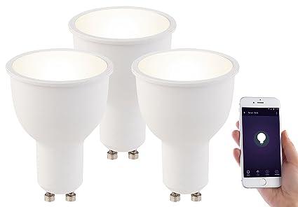 Luminea led leuchtmittel dimmbar: 3er set wlan led lampen amazon