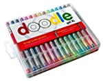 Professional Artist Gel Pen set by DOODLE in UNIQUE carry case – Super LUXURY ink for ADULT COLORING books kids crafts journaling drawing sketching 50% MORE INK than cheap standard pens