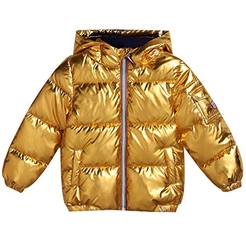 (Little Boys Girls Winter Coat Jacket Quilted Jacket Toddler Puffer Warm Thickened Coat Praka Hooded (Gold 120))