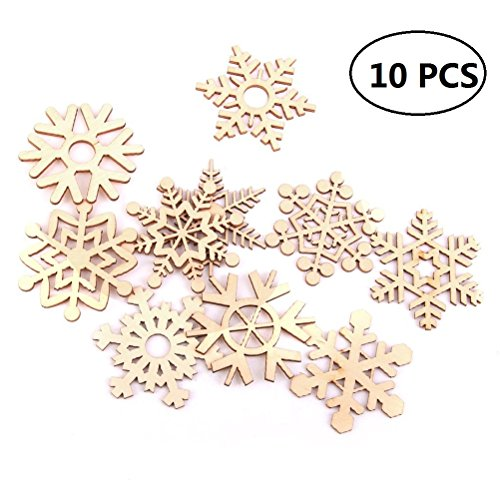 EBTOYS Christmas Tree Ornaments Wooden Snowflakes Gift Tag Xmas Hanging Decorations with Jute Hangers