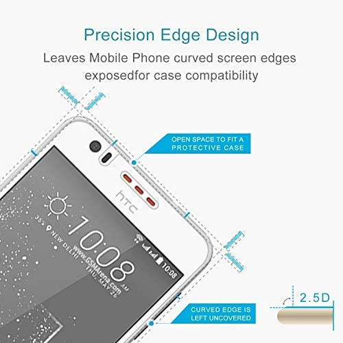 GzPuluz Glass Protector Film 50 PCS 0.26mm 9H 2.5D Tempered Glass Film for HTC Desire 825
