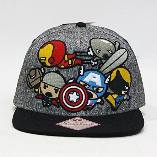 Marvel Kawaii Villains and Kawaii Group Adjustable Snapback Cap (Group Gray)