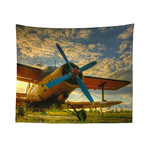 Vintage Airplane Tapestry Wall Hanging Plane Aviation Classic Tapestries Dorm Room Bedroom Decor Art – Printed in the USA – Small to Giant Sizes