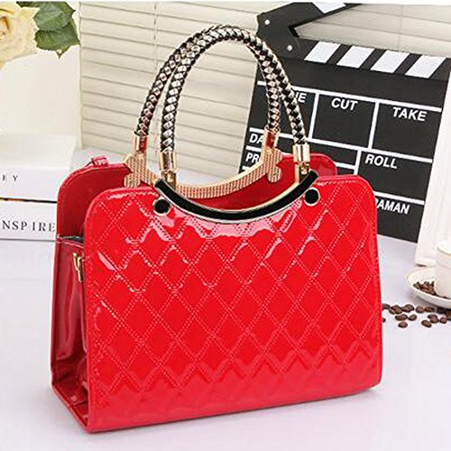 Bag Red ANDAY Red Faux Pearl Women's Fancy Tote Shoulder Quilted Leather Handbag with Accessory Fw87FUq