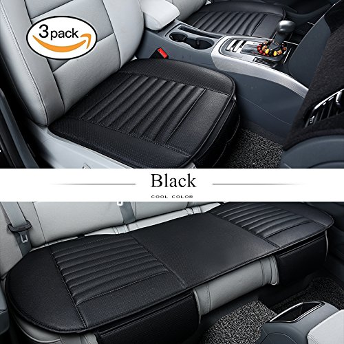 HCMAX Luxury Four Seasons Breathable Car Interior Seat Cushion Cover Pad Mat for Auto Car Supplies PU Leather Bamboo Charcoal - 2+1 Front & Rear Seat Covers