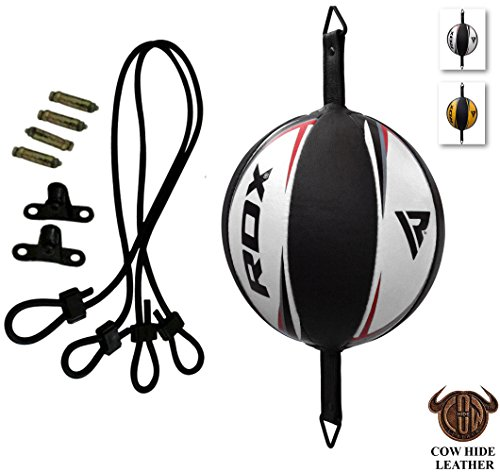 RDX Leather Boxing Speed Ball MMA Double End Dodge Bag Floor to Ceiling Rope Training Punching Workout