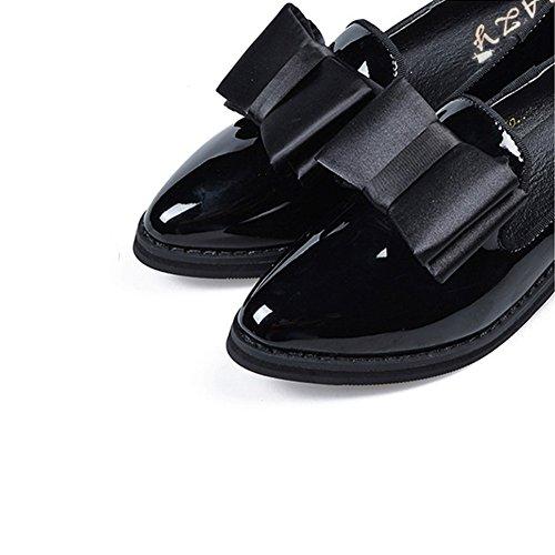 T-juli Loafers Skor För Kvinnor - Bowknot Avslappnad Slip På Låg-häl Spetsig Tå Mode Öre Svart