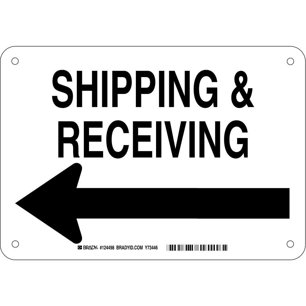 "Brady 124498 Traffic Control Sign, Legend""Shipping and Receiving (Left Arrow Picto)"", 7"" Height, 10"" Width, Black on White"