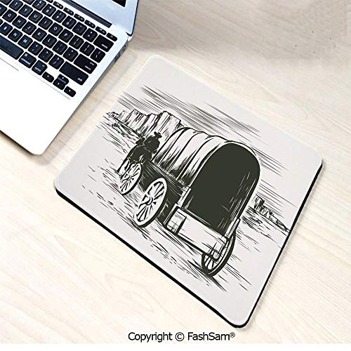Personalized 3D Mouse Pad Old Traditional Wagon Wild West Prairies Pioneer on Horse Transportation Cart Decorative for Laptop -