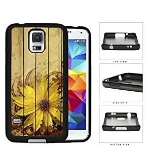 Grunge Sunflower With Wood Pattern Backgrond Rubber Silicone TPU Cell Phone Case Samsung Galaxy S5 SM-G900