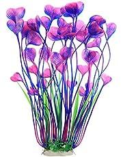 Large Freshwater Aquarium Plants Artificial Plastic 16 inch,Fish Tank Plants Decoration Ornaments,Purple