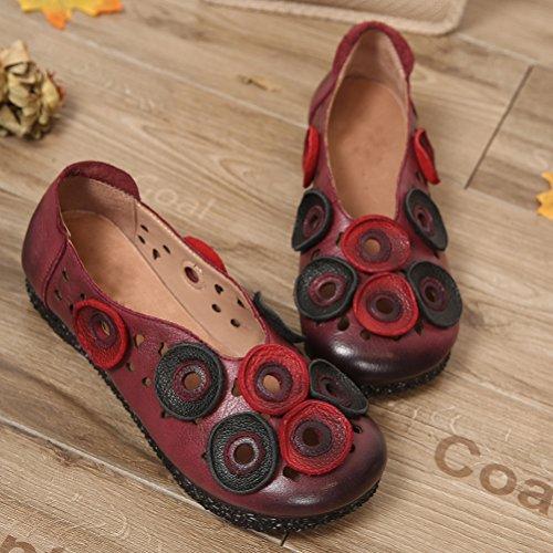 Mordenmiss Womens Etnische Pinkycolor Loafers Bloemen Carving Uitglijden Op Bordeaux Rood