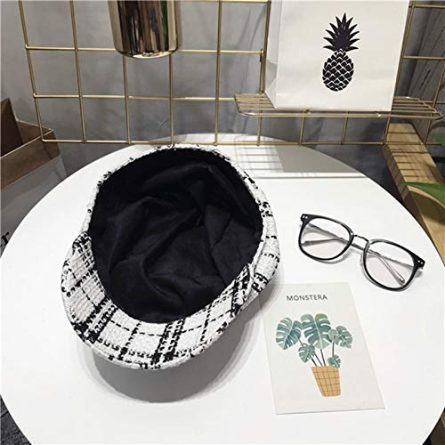 Sports Hat Octagonal Cap Female Autumn and Winter Wild Tweed Small Incense Beret British Retro Black and White Plaid Duck Tongue Painter hat (Color : Black, Size : M(56-58cm)) Outdoor Cap