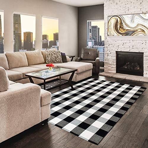NANTA Cotton Buffalo Plaid Check Rug 47.3 x 70.8 4 x 6 Black and White Area Rug for Living Room Dining Room Bedroom Washable Checkered Carpet