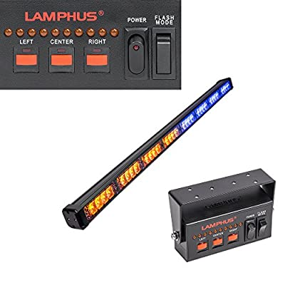 "LAMPHUS SolarBlast SBLS84 38"" 32W LED Emergency Warning Traffic Advisor Light Bar - AMBER BLUE"