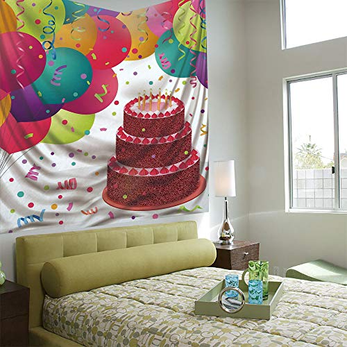 Fashionable Personality Tapestry Home Decoration Background Elastic Living Room,Birthday Decorations,Strawberry Triplex Cake Candles Ribbons Balloons Newborn Celebration,Multicolor ()